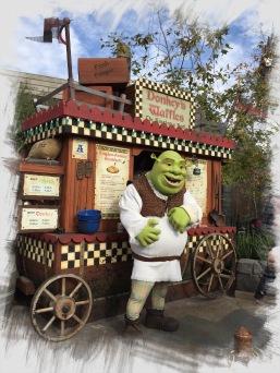 Shrek, der alte Grünmops...verkauft Waffeln in den Universal Studios Hollywood.