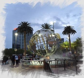 Der Springbrunnen am Eingang zu den Universal Studios Hollywood.