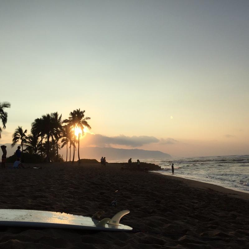 Palmen im Sonnenuntergang am Halaiwa Alii Beach Park.
