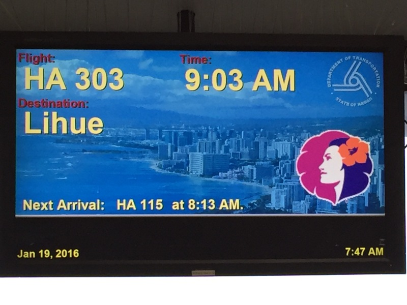 Unser Flug von Honolulu/Oah'u nach Kau'ai.